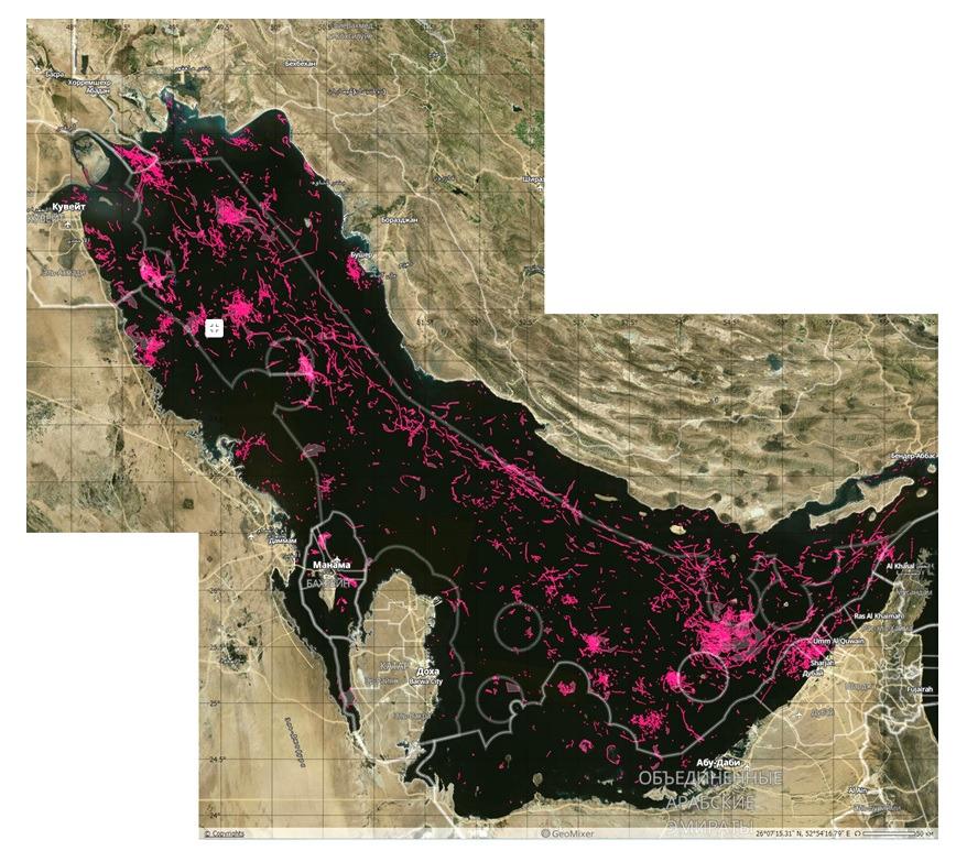 Интегральная карта всех пленочных загрязнений, обнаруженных в Персидском заливе в 2017 г