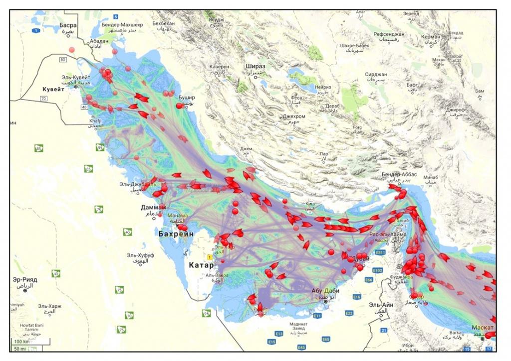 Положение нефтеналивных танкеров в Персидском заливе на 14 января 2018 г. по данным портала marinetraffic.com