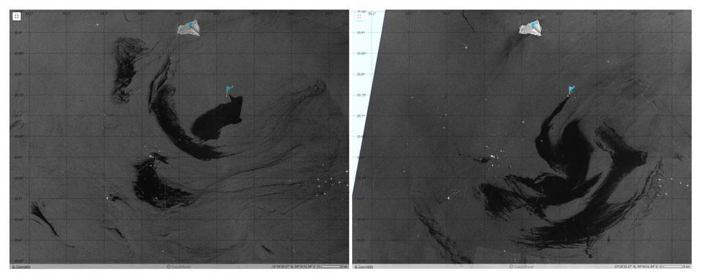 Аномально крупные разливы нефти в Персидском заливе на РЛИ Sentinel-1A