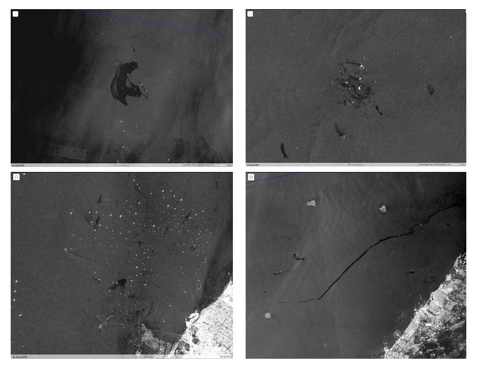 Примеры типичных разливов, обнаруженных на РЛИ