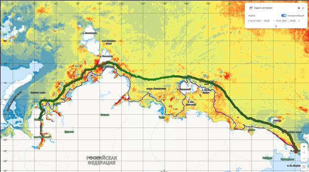 Рис.1. Маршрут движения газовоза «Кристоф де Маржери» на фоне распределения толщин льда по данным NERSK
